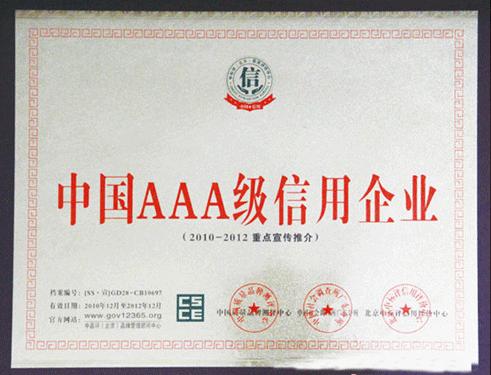 中国AAA级信用企业证书